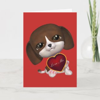 Cute Valentine Love Puppy Holiday Card