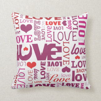Cute valentine love typography heart pattern throw pillow