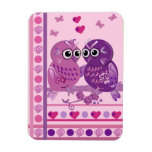 Cute valentine magnet with cartoon owls