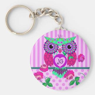 Cute Valentine Owl, patterns & custom Monogram Key Chain