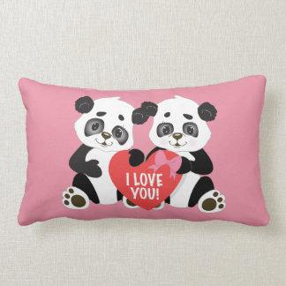 Cute Valentine Panda Bears Pink Lumbar Pillow