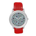Cute Valentine Pugs on Blue Background Wristwatches