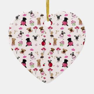 Cute Valentine Pugs on Pink Background Ceramic Ornament