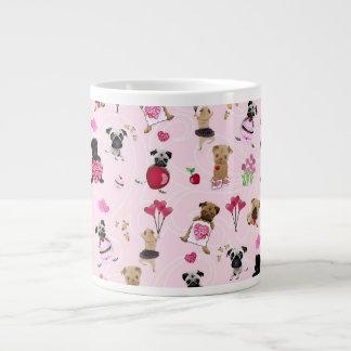 Cute Valentine Pugs on Pink Background Giant Coffee Mug