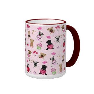 Cute Valentine Pugs on Pink Background Ringer Mug