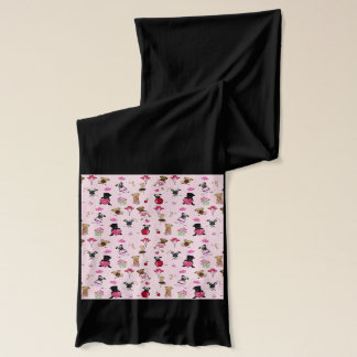 Cute Valentine Pugs on Pink Background Scarf