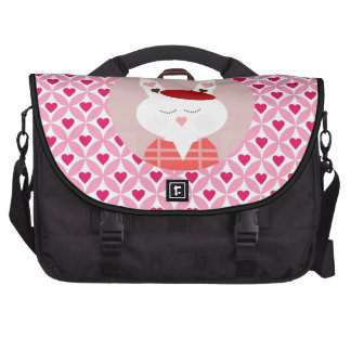 Cute Valentine s Day Bunny Pink Red Hearts Gifts Laptop Messenger Bag