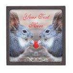 Cute Valentine Squirrels Customized Gift Box Premium Keepsake Box