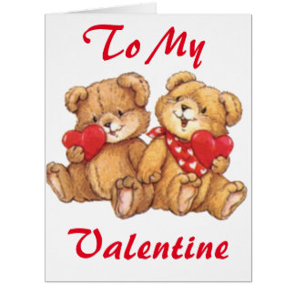Cute Valentine Teddy Bear Couple Big Greeting Card