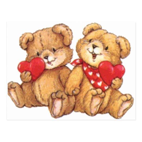 Cute Valentine Teddy Bear Couple Postcard