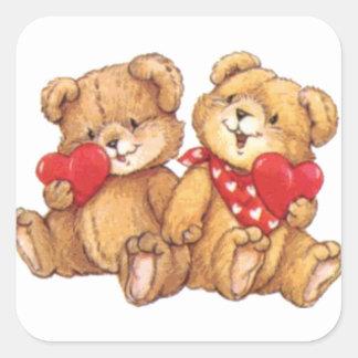 Cute Valentine Teddy Bear Couple Square Sticker