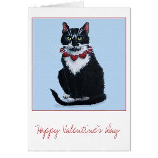 Cute Valentine tuxedo cat greeting card