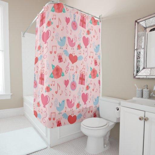 cute valentine 39 s day background shower curtain zazzle. Black Bedroom Furniture Sets. Home Design Ideas
