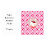 Cute Valentine's Day Bunny Pink Red Hearts Gifts Double-Sided Standard Business Cards (Pack Of 100)