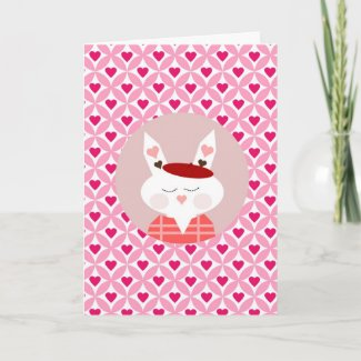 Cute Valentine's Day Bunny Pink Red Hearts Gifts Greeting Cards