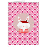 Cute Valentine's Day Bunny Pink Red Hearts Gifts Greeting Card