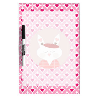 Cute Valentine's Day Bunny Pink Red Hearts Gifts Dry-Erase Whiteboard