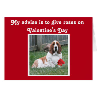 Cute Valentine's Day Card w/Basset Hound and Roses