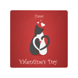 Cute Valentine's Day Cats Love Metal Print