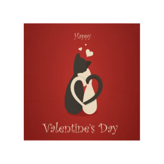 Cute Valentine's Day Cats Love Wood Print