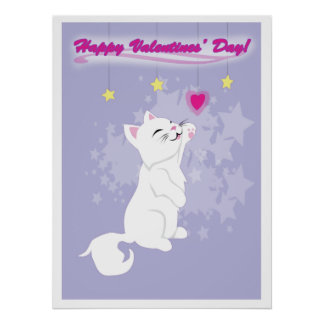 Cute Valentines Day Kitty Poster