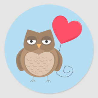 Cute Valentine's Day Owl Classic Round Sticker