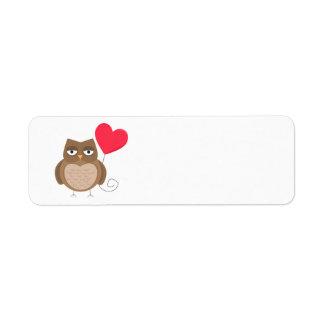 Cute Valentine's Day Owl Label