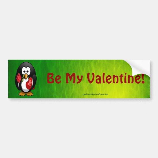 Cute Valentine's Day Penguin Funny Cartoon Car Bumper Sticker