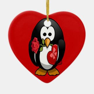 Cute Valentine's Day Penguin Funny Cartoon Ceramic Ornament