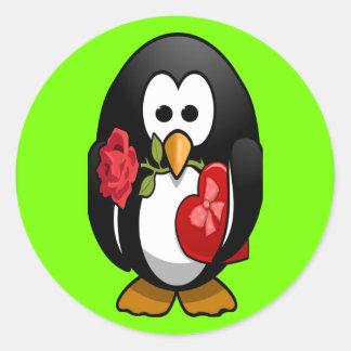 Cute Valentine's Day Penguin Funny Cartoon Classic Round Sticker