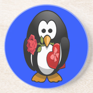 Cute Valentine's Day Penguin Funny Cartoon Coaster