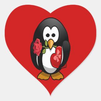 Cute Valentine's Day Penguin Funny Cartoon Heart Sticker