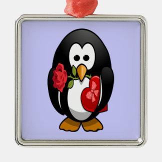 Cute Valentine's Day Penguin Funny Cartoon Metal Ornament