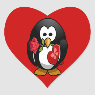 Cute Valentine's Day Penguin Funny Cartoon Sticker