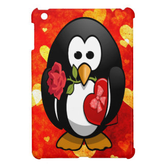 Cute Valentine's Day Penguin & Love Hearts Cartoon Case For The iPad Mini