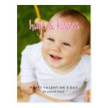 Cute Valentines Day Photo Hugs Kisses Vertical Postcard