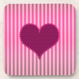 Cute Valentine's Day Pink Heart Stripes Pattern Coaster