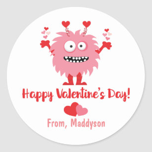 Happy Valentine/'s Day Stickers for Boys Candy Exchange Sticker Navy Blue /& Red Heart Sticker Valentine/'s Day Class Candy Bag Gift Sticker
