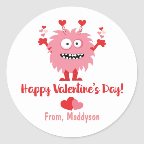 Cute Valentines Day Pink Monster and Hearts Classic Round Sticker
