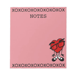 CUTE VALENTINE'S DAY RED HEART PINK NOTEPAD