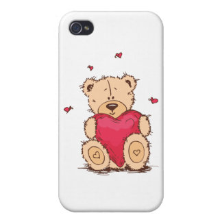 Cute Valentine's Day Teddy Bear Case For iPhone 4