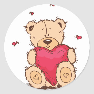 Cute Valentine's Day Teddy Bear Classic Round Sticker
