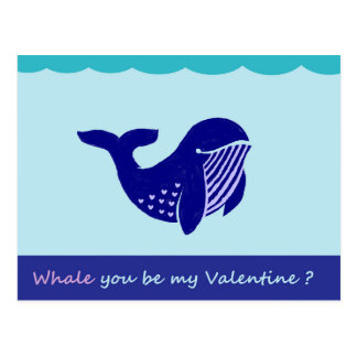 Cute Valentine's Day Whale Funny Postcard