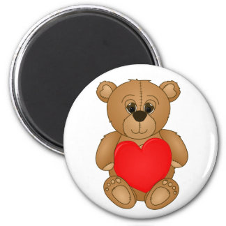 Cute Valentines Teddy Bear with Big Heart 2 Inch Round Magnet