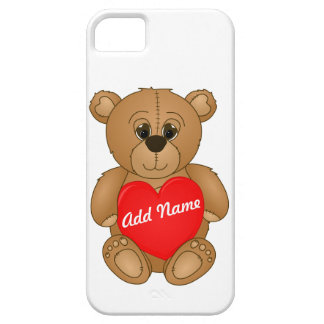 Cute Valentines Teddy Bear with Big Heart iPhone 5 Cases