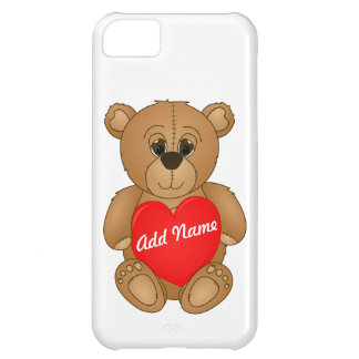Cute Valentines Teddy Bear with Big Heart iPhone 5C Cases