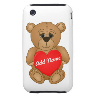 Cute Valentines Teddy Bear with Big Heart Tough iPhone 3 Case