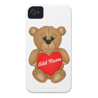 Cute Valentines Teddy Bear with Big Heart iPhone 4 Covers