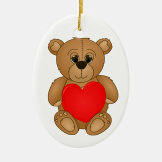 Cute Valentines Teddy Bear with Big Heart Ceramic Ornament