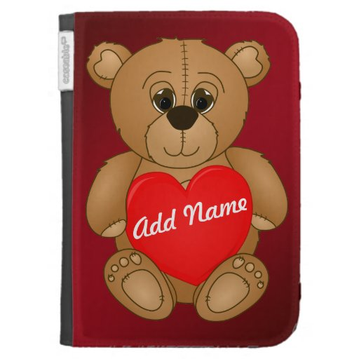 Cute Valentines Teddy Bear with Big Heart Kindle Cover